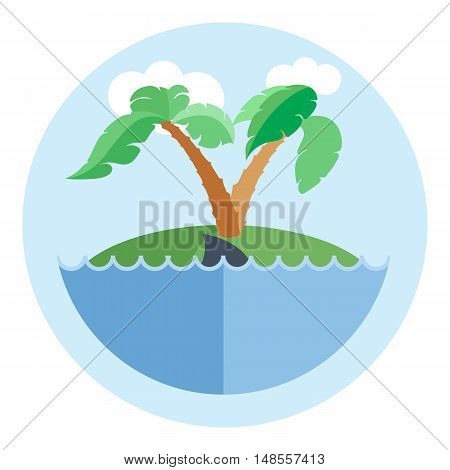 Digital vector island with water, palm tree and shark, flat style