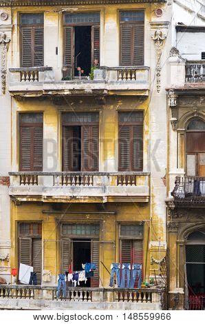 colonial building in Havana, Cuba.
