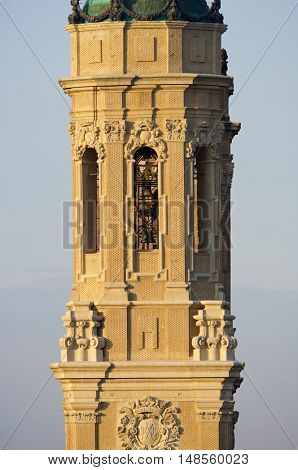 Tower in  basilica of Virgen del Pilar, Zaragoza, Aragon, Spain.