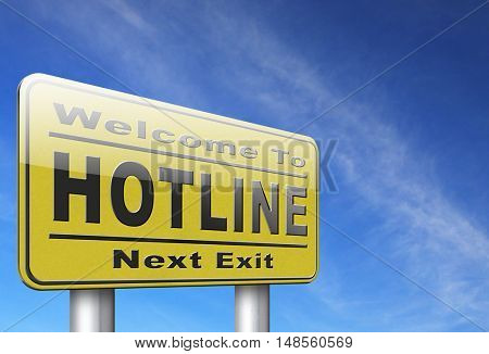 hotline icon call center button or helpline sign for online customer support 3D, illustration