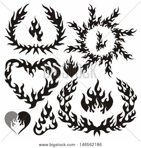 Collection of black vector flame elements isolated on white.