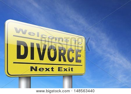 Divorce papers or document by lawyer to end marriage dissolution often after domestic violence alimony. 3D, illustration