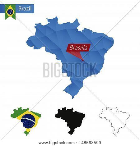 Brazil Blue Low Poly Map With Capital Brasilia.