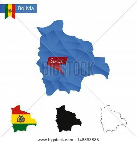 Bolivia Blue Low Poly Map With Capital Sucre.