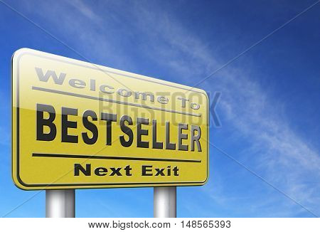 Bestseller, most popular road sign popularity billboard for best seller or market leader and top product or rating in the charts 3D, illustration