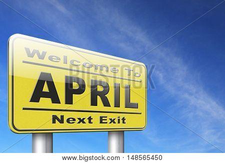 april spring month event calendar, roas sign billboard.  3D, illustration