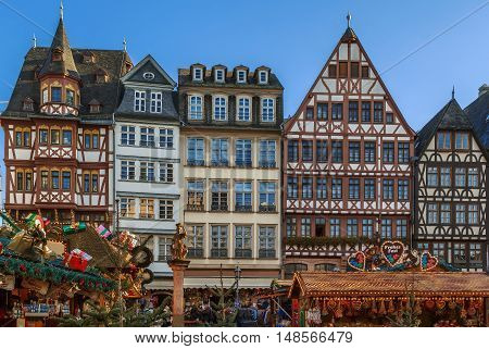 Christmas market on Romerberg square Frankfurt Germany