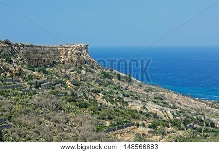 Panoramic view of Gozo, San Blas bay, Malta, Europe. Landscape in Gozo island, Malta