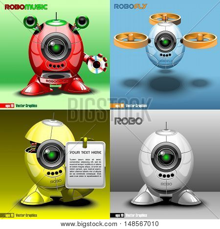 Digital vector robo set, music, fly, red, blue, yellow and silver eye borg, 3d style