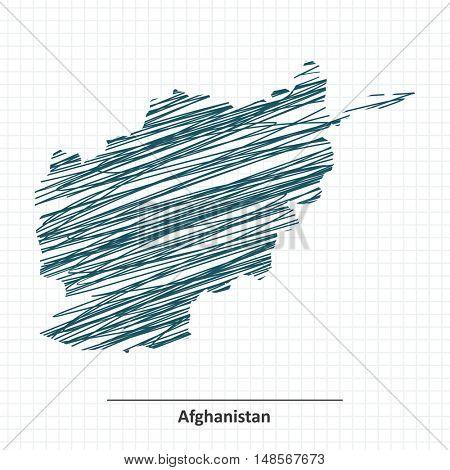 Doodle sketch of Afghanistan map - vector illustration