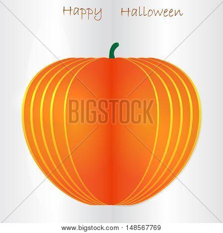 Orange vector paper Halloween pumpkin on paper background