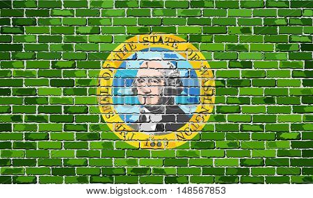 Flag of Washington on a brick wall - Illustration,  The flag of the state of Washington on brick textured background,  Washington Flag in brick style