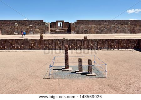 Ruins of Tiwanaku. Tiwanaku is a Pre-Columbian archaeological site in western Bolivia.
