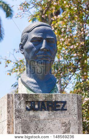 Havana, Cuba - April 1, 2012: Monument Of Mexico Liberator Mexico Benito Juarez