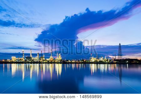 Twilight of oil refinery ,Oil refinery and Petrochemical plant at dusk , Bangkok, Thailand