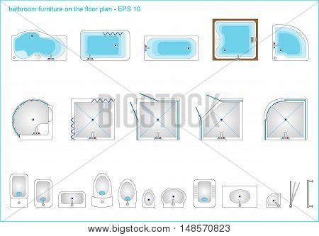 Set plumbing from baths, sinks and toilets, showers. Vector graphics