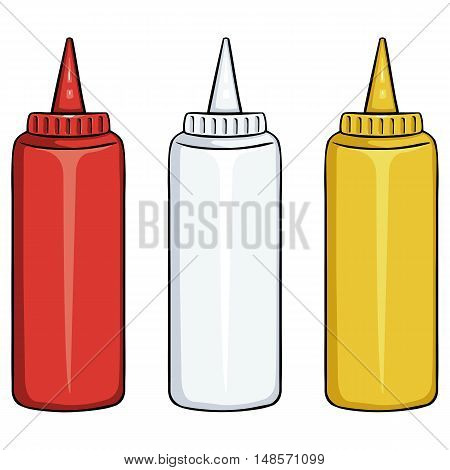 Vector Set Of Bottles. Ketchup, Mayo, Mustard