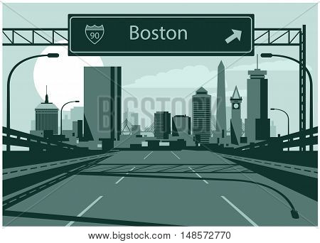 Vector illustration of Boston skyline with freeway sign