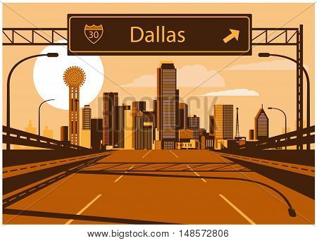 Vector illustration of Dallas skyline with freeway sign