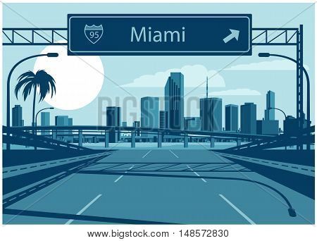Vector illustration of Miami skyline with freeway sign