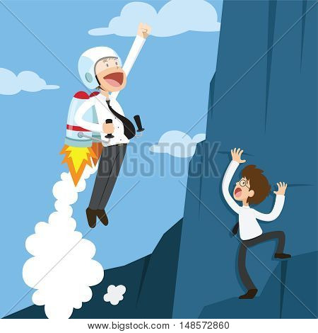 Successful businessman flying by rocket. Business concept. Vector