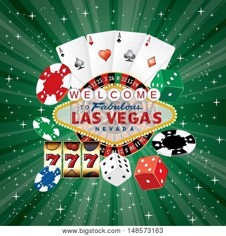 Las Vegas sign with casino icons on green starburst, vector background