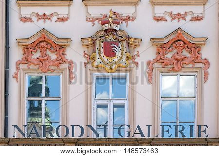 Detail of the Golz-Kinsky Palace a Rococo building in the Old Town Square in Prague Czech Republic. Since 1949 the Golz-Kinsky Palace is a place for the National Gallery.