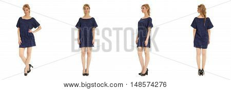 Sexy coquette blond in blue dress isolated