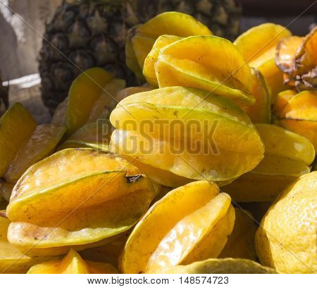 carambola fruit background delicious tropical fruit close up