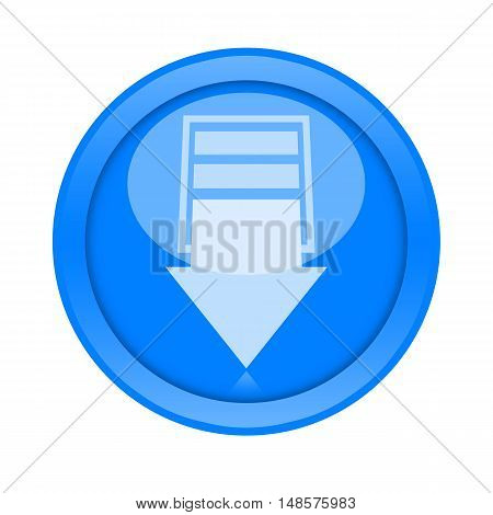 Download big blue round button isolated on white background