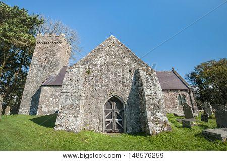 medieval church and graveyard circa 12th century