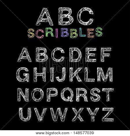 Hand drawn scribbled english uppercase alphabet. Set of doodle non-serif letters.