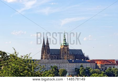 Aerial view of St. Vitus Cathedral and Prague Castle (Hradcany) from Petrin hill Observation Tower Czech Republic.