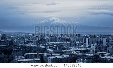Yerevan, Armenia and Ararat mountain with snow