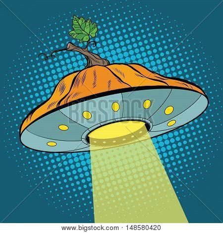 Pumpkin Halloween UFO, pop art retro vector illustration. Mysterious events and science fiction
