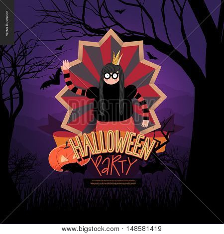 Halloween Party. Flat vectror cartoon illustrated design of a princess wearing glasses in center of striped shield, bats, pumpkin jack-o-lantern, ribbon, lettering, forest landscale, trees and hills