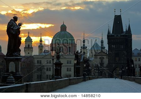 Charles Bridge In Winter, Prague,