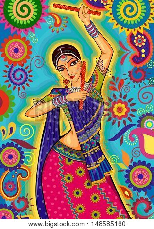 Vector design of woman playing garba dance for Dussehra Dandiya night during Navratri