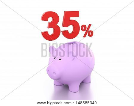 Thirty Five Percent with Piggy  - 3D Rendering Image
