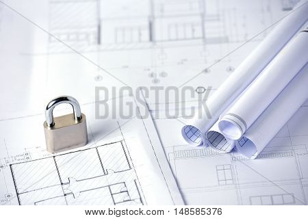 A key lock on several drawings for the project engineer jobs