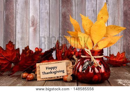 Happy Thanksgiving Tag, Leaves And Autumn Home Decor With Rustic Wood Background