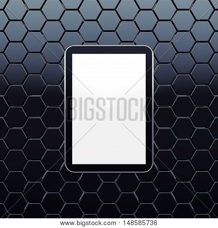 Generic tablet with blank isolated screen on dark honeycomb background , 3d illustration
