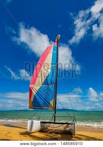 Catamaran sailboat on a beautiful summer day at Maenam Beach Koh Samui Thailand