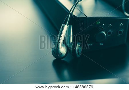 earpiece and speaker photo for music background and music concept