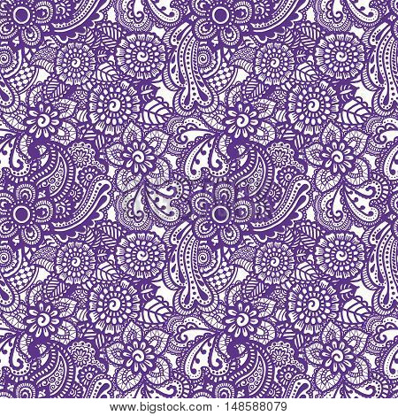 Paisley mehndi seamless colorful pattern. Vector illustration