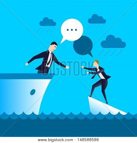 businessman on the ship helping drowning partner, business concept.