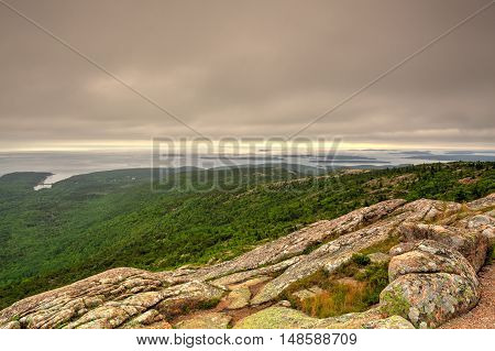 Sunset over Acadia national park from top of Cadillac mountain - HDR Image