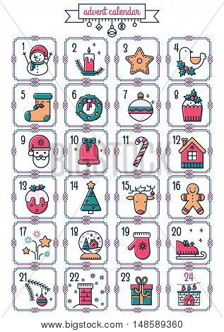 Christmas printable advent calendar in vector. Cute calendar with a lot of holiday symbols. Lovely winter card in flat line style