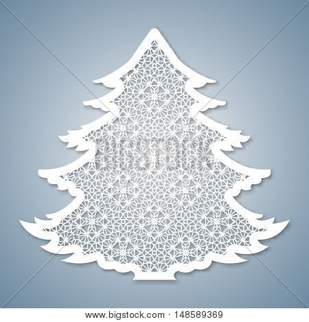 Christmas tree with geometric pattern. Laser Cutting template for greeting cards envelopes invitations interior elements. Vector xmas paper cutting ornamental panel. Die cut card. poster