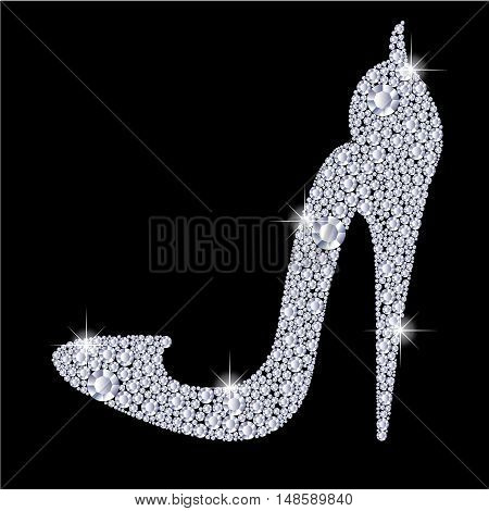 Elegant ladies high heels shoe shape, made with shiny diamonds. Isolated on the black background. Vector illustration.